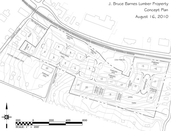 The concept for redevelopment of the Barnes Lumber Co. parcel in Downtown Crozet. Click to download PDF.