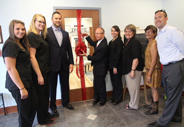 From left: Megan Swortzel, Allyssa Duncan, Dr. James Willis, Dr. Emery Taylor (about to make the snip), Brandy Shifflett, Cindy Walizer and building mates Diane Goodson and John O'Connor.