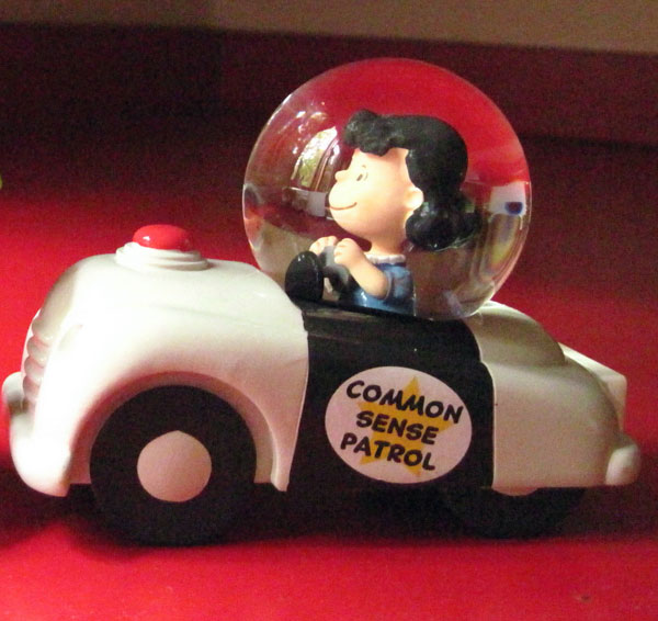 "This Hallmark deco of Lucy van Pelt from the Charles Shultz comic strip ""Peanuts"" provides inspiration to the author! Photo credit: Marlene Condon."