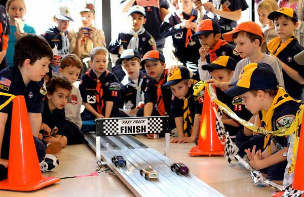 The finish line at the 2012 Pinewood Derby.