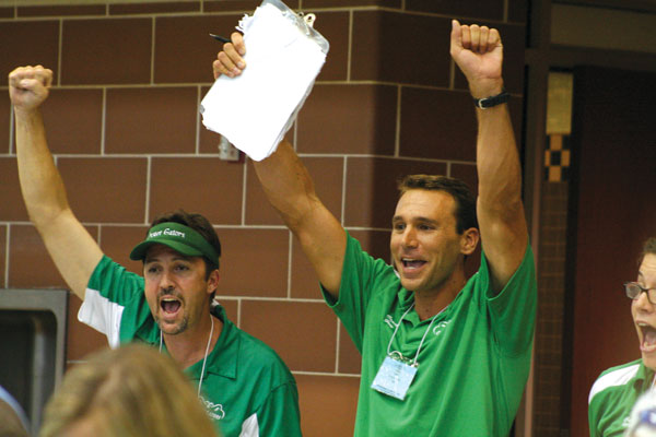Cameron Burr and Greg Remaly as Crozet's victory was announced. (Photo by Alisa Sposato)